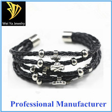 Good Price Four Clover Leave Woven Leather Multi Layer Magnetic Bracelet