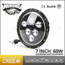 Round 7'' Led Headlight 60W Led Driving Light Hi-Low Beam Led Head Light With Halo Ring Led Offroad Light For JK