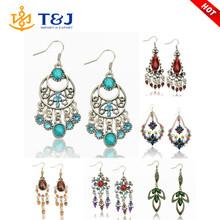New Fashion Earrings for Women Acrylic Beads Dangle Tassel Earrings Jewelry Brincos Tribal Hook Eardrop Rhinestone Crystal /