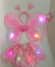 High Quality Party Pretty LED Fairy Wings Set Butterfly tutu dress for promotion