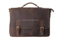 OEM custom your own design crazy horse leather laptop messenger bag
