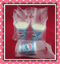 Hand the bill of lading double cup bag Coke milk tea carrier out bag/ die cut handle plastic take out bags