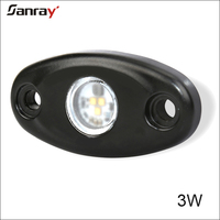 Low/High power DC10-30V 2 inch 3W LED Rock Dome Light for car trucks
