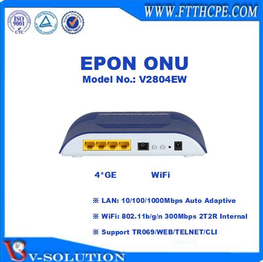 4GE + 2FXS + WiFi ac 2.4G/5G dual band GEPON ONU Soutien IPTV/VoIP/PPPoE pour FTTH Solution