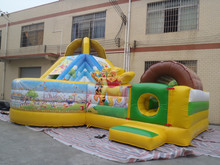 hot selling inflatable teddy combo games/inflatable slide with bouncer for children