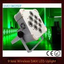 9 Lens RGB TRI Color 3in1 Wireless DMX LED Flat Par