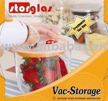 Vacuum storage glass container