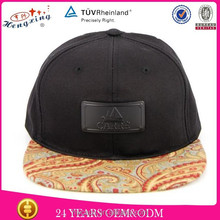 Tree leaf leather plate fashion mens stylish snapback cap