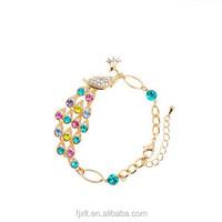 Wholesale lot alloy cz diamond crystal peacock bracelet wedding jewellery