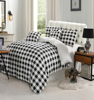 Hot selling white and black stripe home design 100% cotton from china suppliers 4-piece duvet cover set