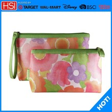 Floral Cosmetic Bags ,makeup artist bag, polyester Cosmetic Makeup Bag Set Zipper Pouch (1 Large + 1 Small)