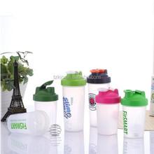 Plastic shaker bottle 600ml Wire ball secure screw-top lid for Leak-free