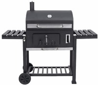 768sq.in Cast Iron Classic Charcoal BBQ Barbecue Grills with Trolly Cart for Backyard Outdoor Kitchen Cooking Equipment