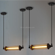 Industrial transverse long cylindrical pendant lamp classics vintage edison style light bulb