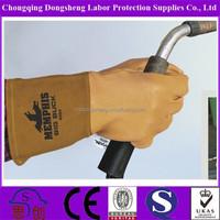 "Welding glove, pig grain palm and back, cow split cuff, unlined 11"" leather welding gloves/ EN388"
