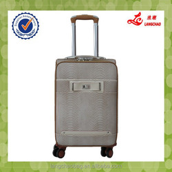 Snake PU Lady bags Spinner Wheel Aluminum Trolley With Push Button Trolley Luggage