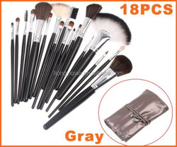 Professional 18 pcs Cosmetic Facial Make up Brush Kit With Gray Leather Bag
