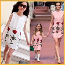 2015 New arrival America style dress design high quality mother and daughter flowers dress