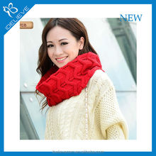 2015 fashion solid color knitted neck scarf