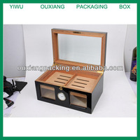 HOT SALE good quality brown color solid wooden cigar box with humidifier and hygrometer/double layer humidor/wood cigar box