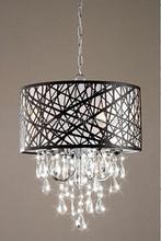 Aleatória linha tecido brilhante hanging pingente de cristal lâmpada