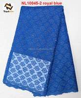 african fabrics with beads french lace wholesale royal blue french lace NL10045