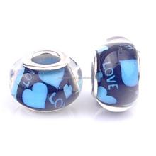 Cheap Price European Charm Lampwork Blue Heart Love Murano Glass Beads