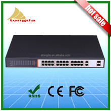 China 2015 hot sale IEEE802.af/at standard 400W power supply 24 ports 100Mbps ethernet poe fiber switch for IP cameras