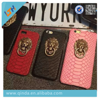 Hot selling 2015 newest metal lion stand and pu leather Case For Iphone6/6plus/5