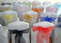 100% polyeste colorful organza banquet chair sash cover for wedding decoration
