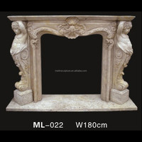 yellow sand stone decorative gas statue fireplace mantel