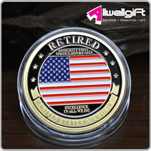 Gold Air force Round Challenge Coin in acrylic holder for souvenir