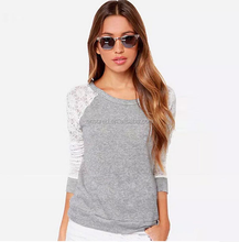 Morden women beautiful lace raglan sleeve blank t shirt wholesale