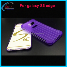 purple tpu case with glitter powder for Samsung galaxy S6 Edge,stripe pattern gel case for Samsung galaxy S6 Edge