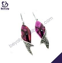 Violet stone fish shape silver earring parts wholesale