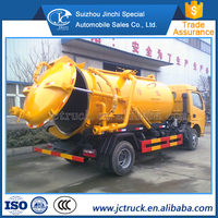 Diesel engine and Manual transmission Type 6 ton mini sewage suction truck on sale