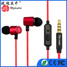 Red Color Mobile Phone MP3 Great Sounding Metallic Earbuds for Girls Ecouteur