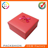 Leatherette paper material new style gift packaging box with bow tie
