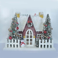 2014 new china products for sale christmas paper house with snowman, artificial chrismas tree and wreath from Shenzhen factory