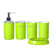 Simple green plastic bathroom accessory set 5pcs for home use