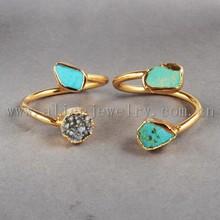 Turquoise gold jewelry titanium ring , 2015 fashion ring wholesale druzy ring