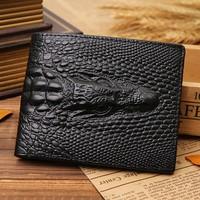 Men crocodile genuine leather wallet