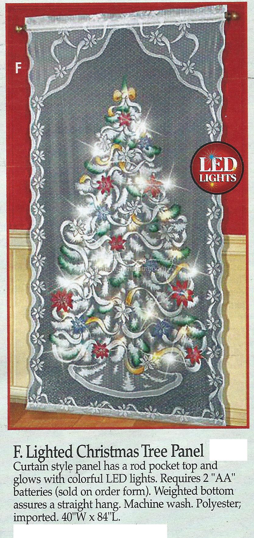 Kerst decoratie led verlichte gedrukt kant gordijn panel 84l x 40 ...