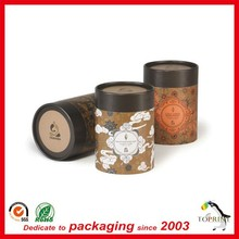 High end quality chocolate color offset custom printing tea tube coffee packaging tube box roll edge made in China