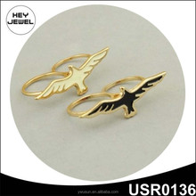 Wholesale YiWu Jewelry Gold Plated Alloy Free Bird Double Finger Ring