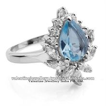 Sterling Silver ring, Latest Design Diamond ring with Blue topaz, girls silver rings
