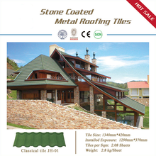 Colorful stone coated metal roofing tiles eight waves