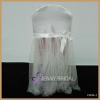 C265A-2 lastest bow decoration white satin and tulle round back chair cover for wedding party