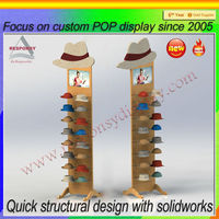 Manufactory wooden floor hat display rack