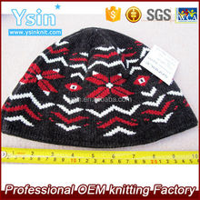 High quality mens wool knitted jacquard beanie hat